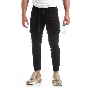 Мъжки черни дънки Cargo Jogger