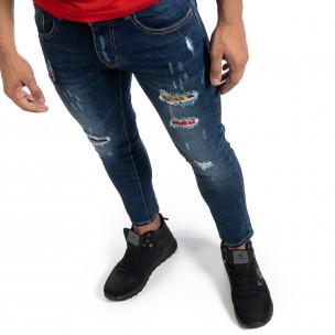 Cropped мъжки сини дънки с акценти Slim fit 2