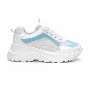 Дамски Chunky маратонки в бяло и синьо