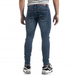 Мъжки сини дънки с кръпки Black-White Slim fit 2