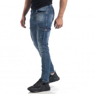 Мъжки намачкани Cargo Jeans Slim fit в синьо  2