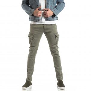 Мъжки панталон тип карго в сиво-бежово