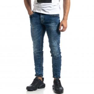 Washed мъжки сини дънки Slim fit