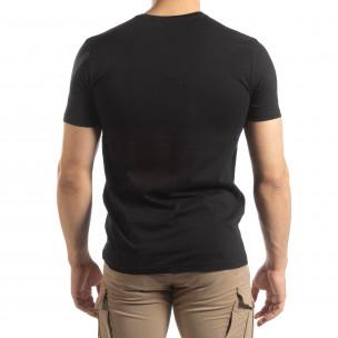 Черна мъжка тениска златист принт 2