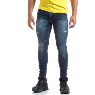 Skinny мъжки сини дънки с прокъсвания