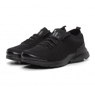 Леки мъжки маратонки тип чорап в черно Modern 2