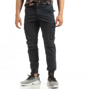 Мъжки карго джогър панталон в синьо 2