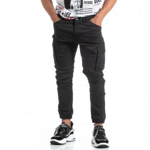Мъжки черен рокерски панталон с карго джобове  2
