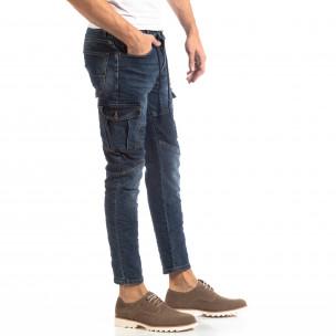 Рокерски мъжки Cargo Jeans в синьо