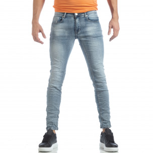 Мъжки Washed Slim Jeans в синьо  2