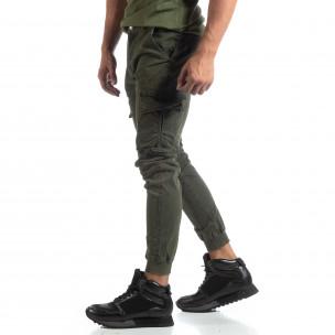 Мъжки зелен карго панталон с маншети трико