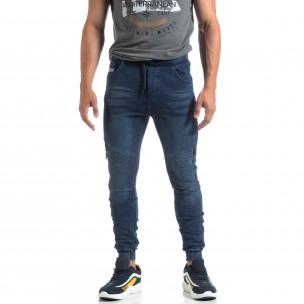 Мъжко рокерско долнище цвят син деним  2