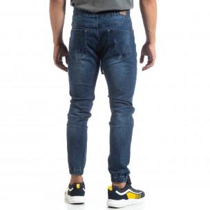 Мъжки сини Jogger Jeans в рокерски стил  2