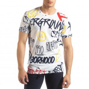 Мъжка бяла тениска с графити