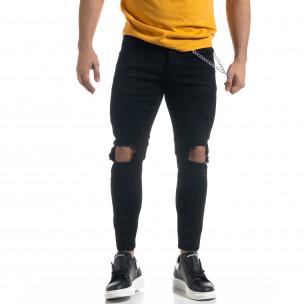 Мъжки черни дънки Destroyed Cropped с аксесоар