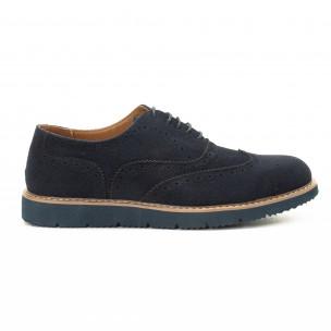 Casual мъжки обувки Wingtip син велур