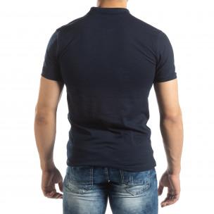 Фина мъжка тениска Polo shirt в тъмно синьо  2