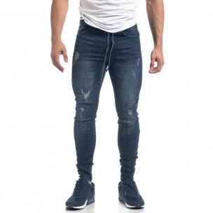 Мъжки сини дънки с ластичен колан Skinny fit