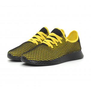Ултралеки мъжки маратонки Mesh в черно и жълто