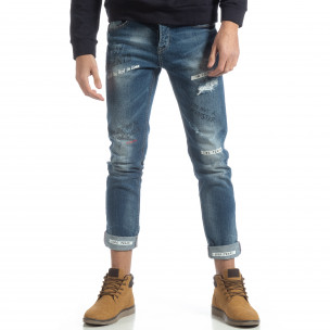 Мъжки сини дънки с принт и маншети 2