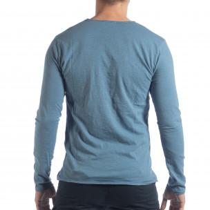 Мъжка блуза V-neck в синьо  2