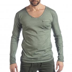 Мъжка блуза Vintage стил в зелено