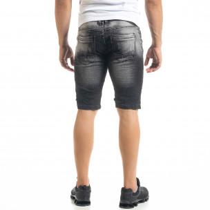 Slim fit мъжки къси дънки в черно  2