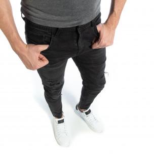 Черни мъжки дънки Slim fit с прокъсвания