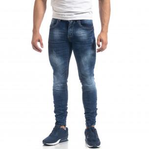 Сини мъжки дънки Washed Slim fit