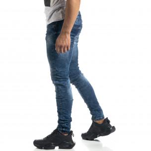 Сини мъжки дънки състарен ефект Slim fit