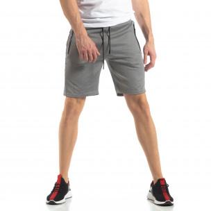Сиви мъжки шорти с ивици  2