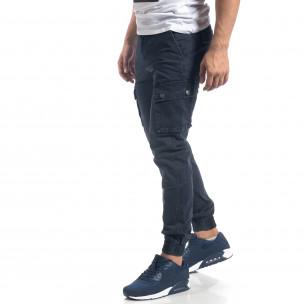 Мъжки син панталон с карго джобове