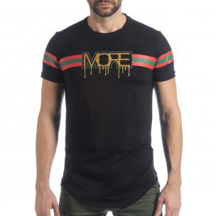 Мъжка черна тениска More Life Stripe  2