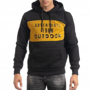 Мъжки суичър hoodie с жълт акцент  2