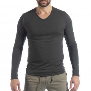 Мъжка блуза V-neck в графитено сиво