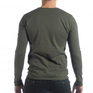 Мъжка блуза V-neck в милитъри зелено  2
