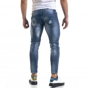 Мъжки сини дънки Destroyed Cropped  2
