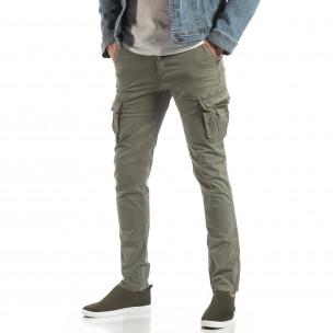 Мъжки панталон тип карго в сиво-бежово  2