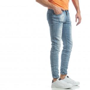 Slim fit мъжки прокъсани дънки светъл деним
