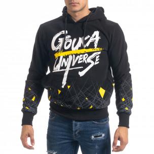 Черен мъжки суичър hoodie с принт  2