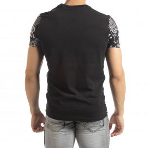 Мъжка черна тениска със символи  2