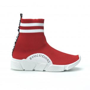 Червени дамски маратонки тип чорап с акценти  2