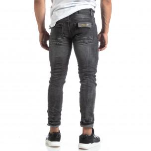 Мъжки намачкани дънки Slim fit в черно  2