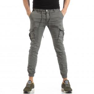 Сив карго панталон с трикотажни маншети 2