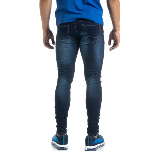 Намачкани мъжки дънки в цвят индиго Skinny fit  2