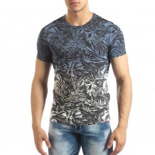 Мъжка синя тениска с преливане Leaves мотив  2