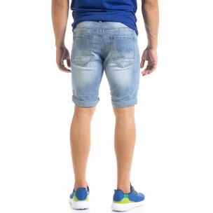 Мъжки сини къси дънки с маншети  2
