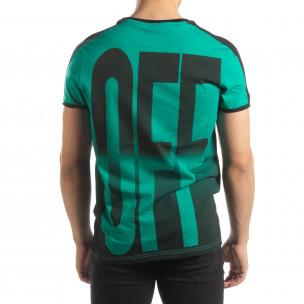 Зелена мъжка тениска ON/OFF с преливане  2