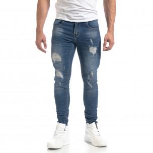 Сини мъжки Slim fit дънки с прокъсвания  2