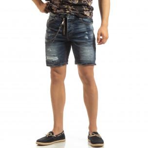 Прокъсани мъжки къси дънки със синджир